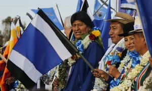 President Evo Morales attends a closing campaign rally in El Alto, on the outskirts of La Paz, Bolivia, on Wednesday.
