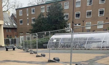 Security fence erected around Manchester students' block of flats |  University of Manchester | The Guardian