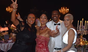 Isabel dos Santos with Nicole Scherzinger, Chris Tucker and Mette Towley at a Cannes gala dinner in 2018