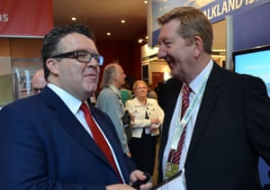Tom Watson at the 2011 Labour party conference with Len McCluskey.