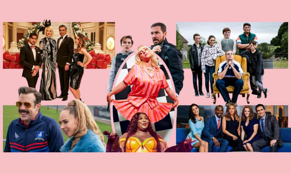 Delayed gratification ... (clockwise from top left) Schitt's Creek; Line of Duty; Billy Eilish, This Country; The Morning Show; Lizzo; Ted Lasso.