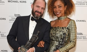 Ralph Fiennes with Sophie Okonedo, who won best actor and best actress at the Evening Standard theatre awards.