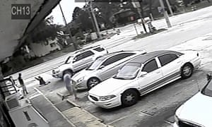 In this 19 July 2018 file frame from surveillance video released by the Pinellas county sheriff's office shows the an altercation between Markeis McGlockton and Michael Drejka in Clearwater, Florida.