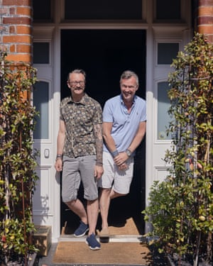 Simon and Nick outside a house on Kingsmead Road in south London.