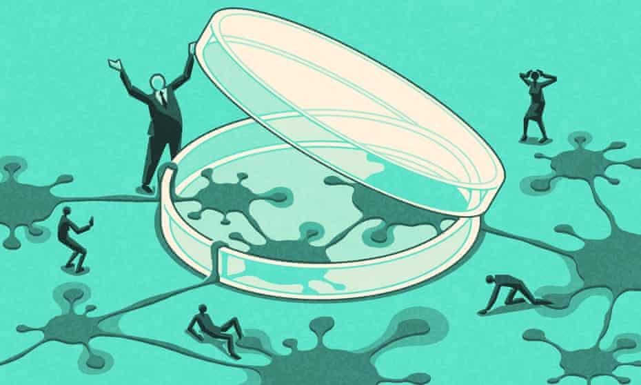 Illustration of a Covid petri dish