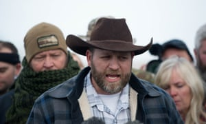 Ammon Bundy at a press conference.