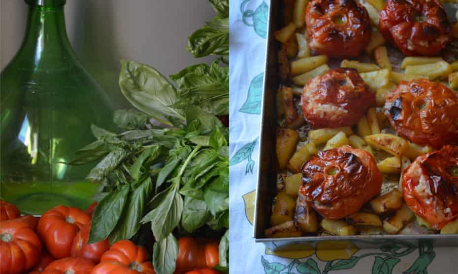 Baked stuffed tomatoes with potatoes