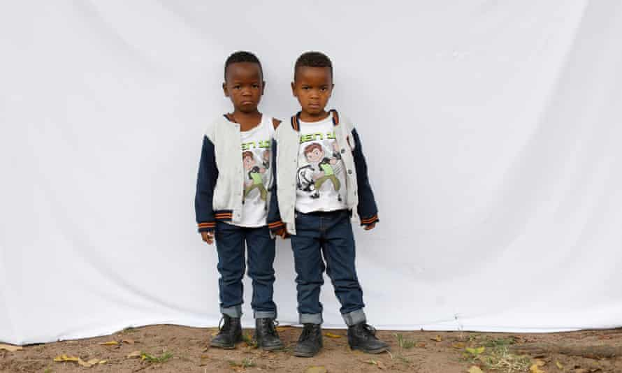 Five-year-old twins Syanda, left, and Andile Bhengu