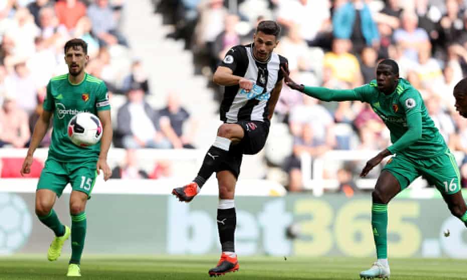 Fabian Schär scores Newcastle's first goal against Watford.