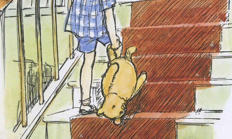 Story turned upside down … one of EH Shepard's illustrations of Christopher Robin and Pooh, who was not, it turns out, modelled on AA Milne's son's toy.