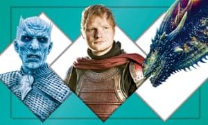 The Night King; Ed Sheeran; a dragon.
