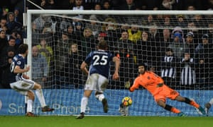 Jay Rodriguez dispatches an 89th-minute penalty past Petr Cech to earn West Bromwich Albion a point.