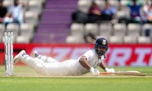 Close: India's Rishabh Pant survives a run out attempt.