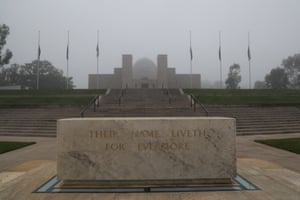 A fog hangs over the ceremonial area of the Australian War Memorial in Canberra after the closed Anzac Day dawn service .