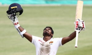 Sri Lanka's Kusal Perera celebrates on his way to leading the team to a famous victory.