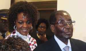 Grace and Robert Mugabe arrive at party headquarters in Harare this week