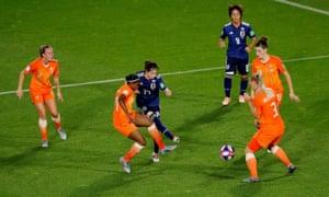 Japan's Yui Hasegawa shoots at goal.
