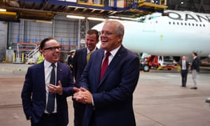 Prime minister Scott Morrison with Qantas CEO Alan Joyce during an aviation and tourism package announcement at Sydney airport, 11 March, 2021.