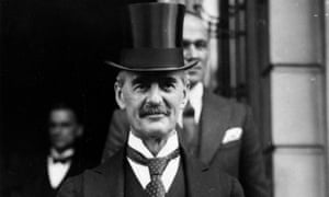 Chancellor Neville Chamberlain on budget day in 1934.