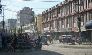 A dusty junction in Birgunj, Nepal