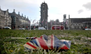 Union flags left discarded in Parliament Square.
