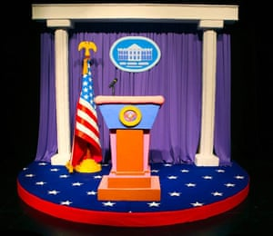 Installation recreation of the White House's James S Brady Briefing Room 2018.