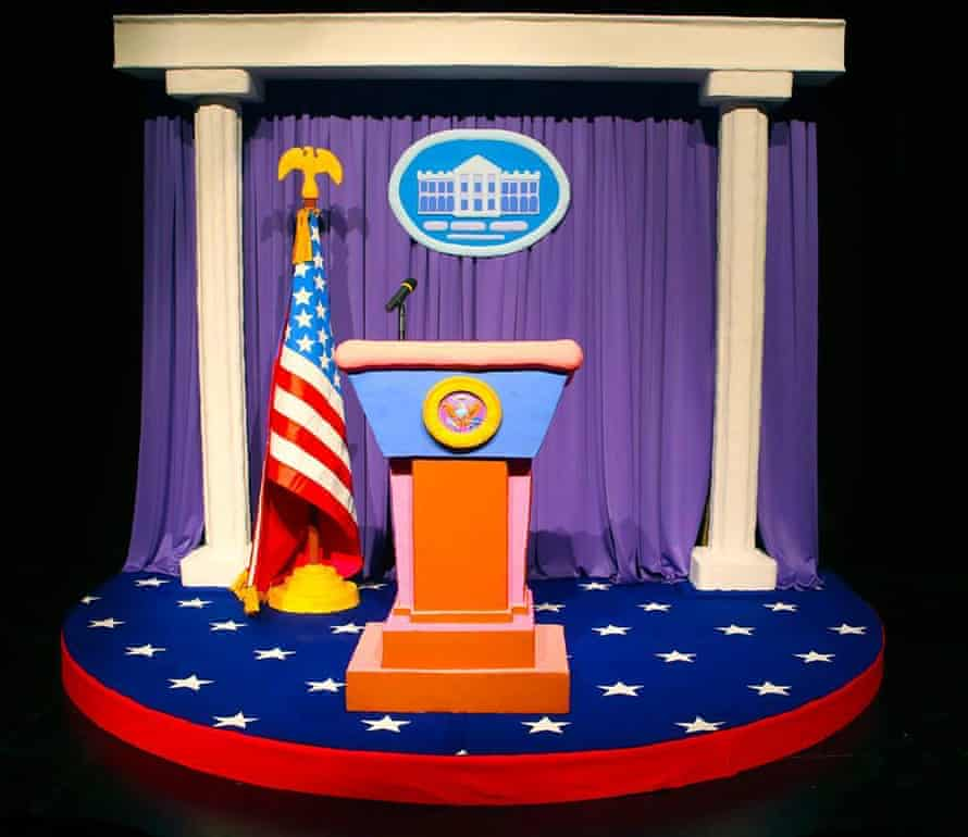 Installation recreation of the White House's James S Brady Briefing Room 2018
