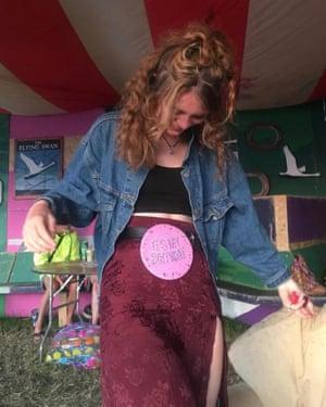 Maddi Fearn celebrating her birthday at Glastonbury.