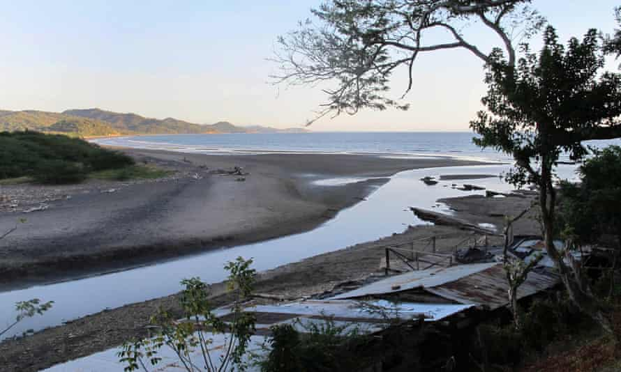 A late-afternoon sun illuminates part of the Brito Inlet which Nicaragua says is the likely Pacific Coast outlet of a planned interoceanic canal.
