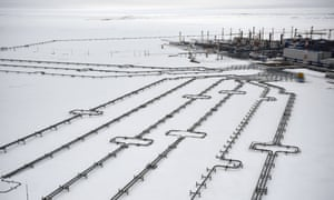 Incoming pipelines leading to the Bovanenkovo gas field in Siberia.
