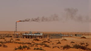 A Saudi Aramco oil installation in the desert east of Riyadh.