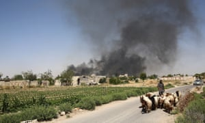 A young Syrian shepherd leads his flock as smoke billows from a farm near the rebel-held town of Douma, east of the capital Damascus.