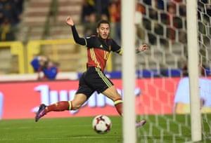 Eden Hazard doubles the Belgium lead.