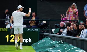 Andy Murray celebrates breaking serve in the fourth set.