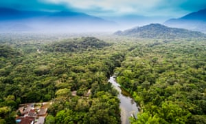 Amazon rainforest with river and village