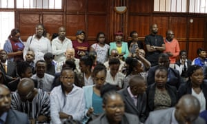 Campaigners gather to hear the decision on the case in Nairobi, Kenya.