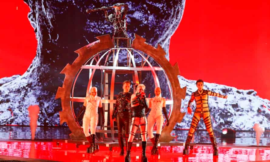 Iceland's Hatari on stage at rehearsals.