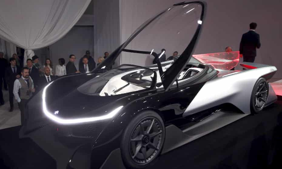 The Faraday Future FFZERO1 electric concept car is shown after an unveiling at a news conference in Las Vegas, Nevada January 4, 2016.