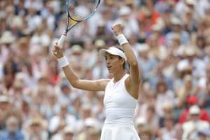 Garbine Muguruza celebrates her victory over Magdalena Rybarikova.