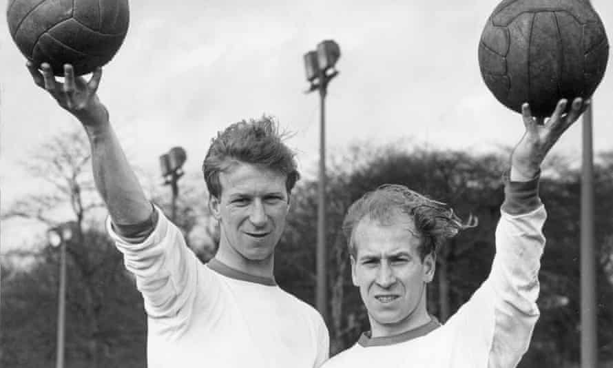 Jack Charlton (left) and his brother Bobby at training with England in March 1965.