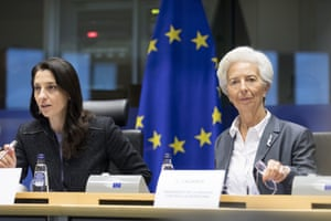 ECB President Christine Lagard (right) before the Committee On Economic And Monetary Affairs Of The European Parliament today.