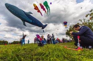 People fly kites during the 2017 Pyostroye Nebo kite festival in Moscow's Tsaritsyno Park