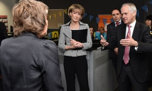 Michaelia Cash, centre, with Malcolm Turnbull at the Eastern community centre in Box Hill town hall, Melbourne, on Thursday.