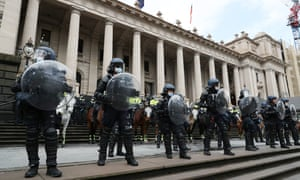 Police outside Victoria's parliament house