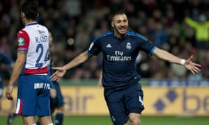 Karim Benzema celebrates after giving Real Madrid the lead.