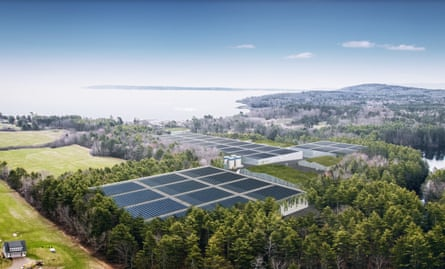 An illustration of Nordic Aquafarms' Belfast salmon farm overlooking Penobscot Bay, Maine.