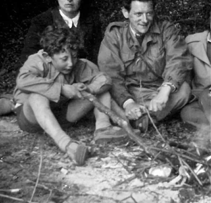 'We were a family that treasured hilarity': Rosen with his father on a camping holiday in 1953.