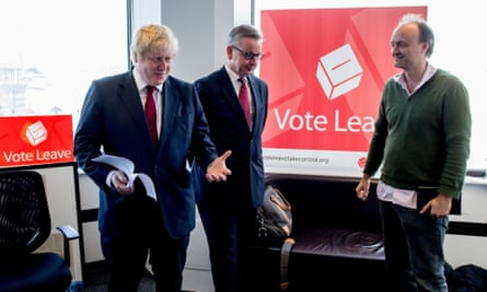 Boris Johnson, Michael Gove and Dominic Cummings at Vote Leave HQ in central London in 2016.
