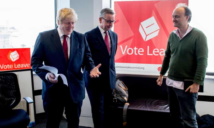 Boris Johnson, Michael Gove and Dominic Cummings at Vote Leave HQ in central London after the UK voted out of the EU