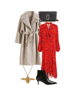 Harriet Green, Observer Magazine editor: 'Contrast a pale coat with a bold dress.' Cream coat, £205, stories.com. Dress, £135, Label Mix at next.co.uk. Necklace, £144, alexmonroe.com. Ankle boots, £149, tedbaker.com. Bag, £255, Marc Jacobs at selfridges.com